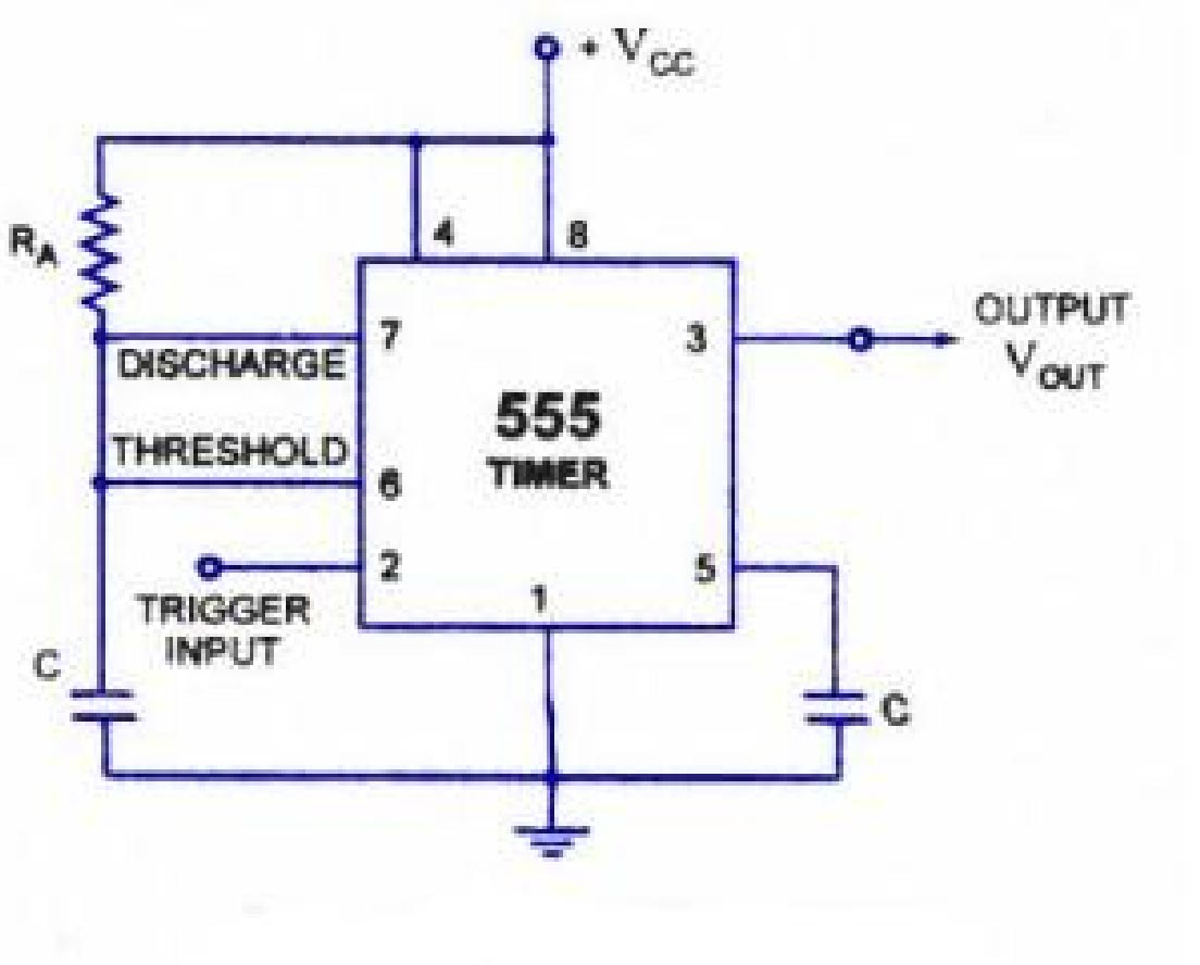 Circuit Diagram of 555 timer in Astable Mode