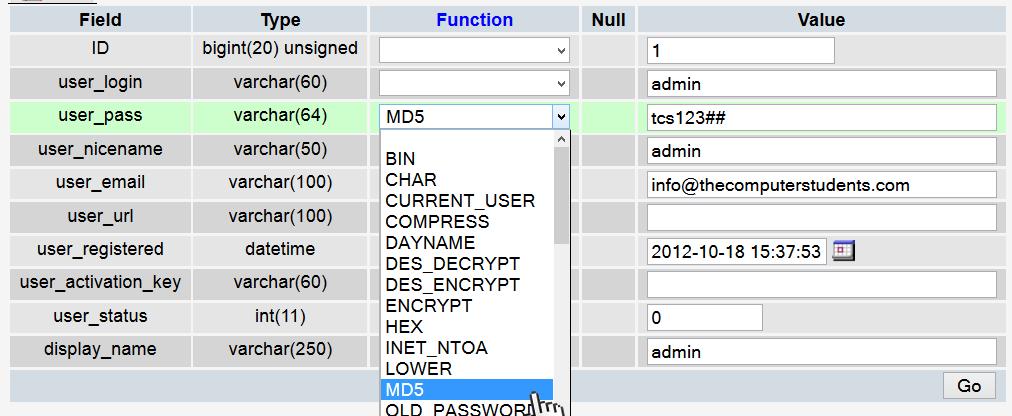 Change WordPress Password Security type
