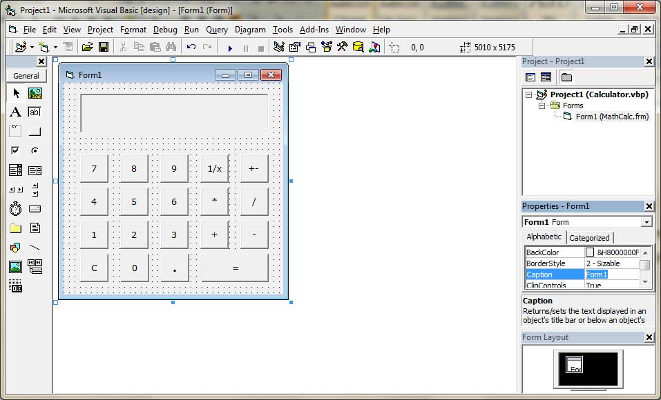Form Designed for Calculator
