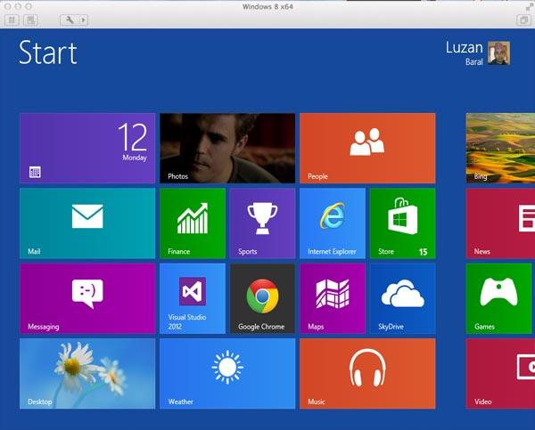 Start Screen after installing Windows 8 on Mac using VMware Fusion