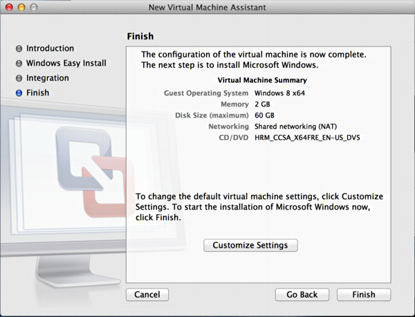 Install Windows 8 on Mac OS X using VMware fusion